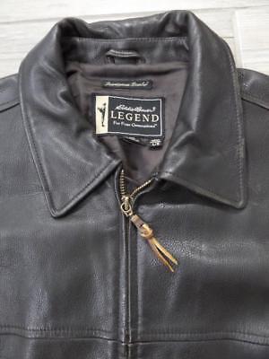 vtg EDDIE BAUER Leather Jacket LEGEND Black LARGE Journeyman BOMBER
