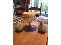 Amelia Art Glassware - Fruit Stand - Glass Apple - Glass Pear - Stunning!