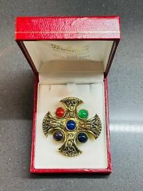 Beautiful Vintage Five Healing Stone Cross Art Deco Gold Plate Antique Pin Brooch Jewellery Gift