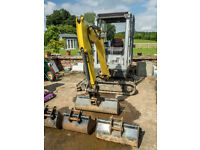 Wacker Neuson 1404 Mini Digger complete with 4 buckets for sale with low hours.