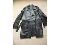 Mens, gents black nappa leather trench coat, jacket, 3/4 length, 46 inch chest. Retro / matrix style