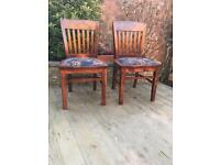 Two retro heavy well built dining chairs, bargain free delivery