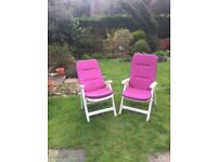 2 Sturdy White garden chairs, with adjustable back and quality seat pads