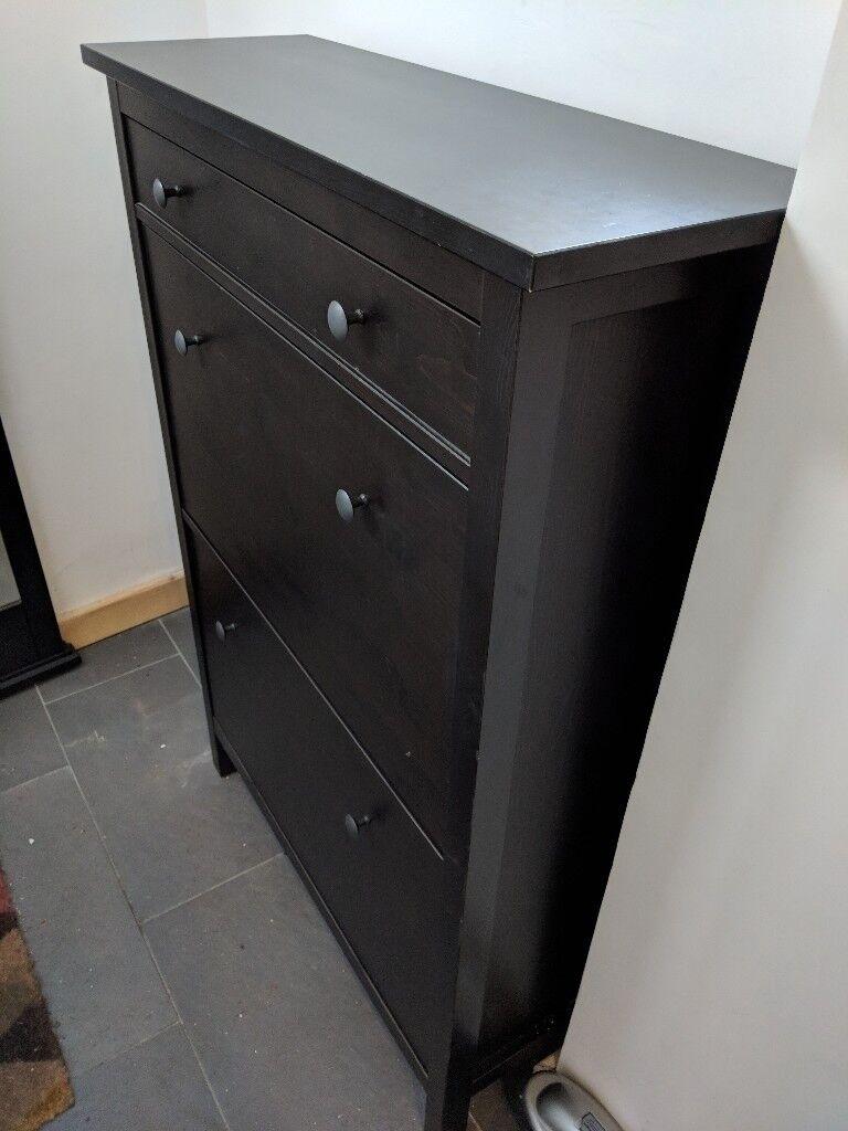 Ikea hemnes shoe cabinet black brown