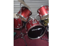 DRUMS--5 PEICE RED--VERY GOOD CONDITION--- plus stands and cymbals £155
