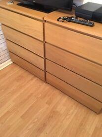 Ikea Malm 4 Drawers x 2