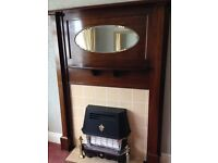 BEAUTIFUL ANTIQUE FLAME MAHOGANY ORIGINAL FIRE SURROUND WITH MIRROR OVER MANTLE
