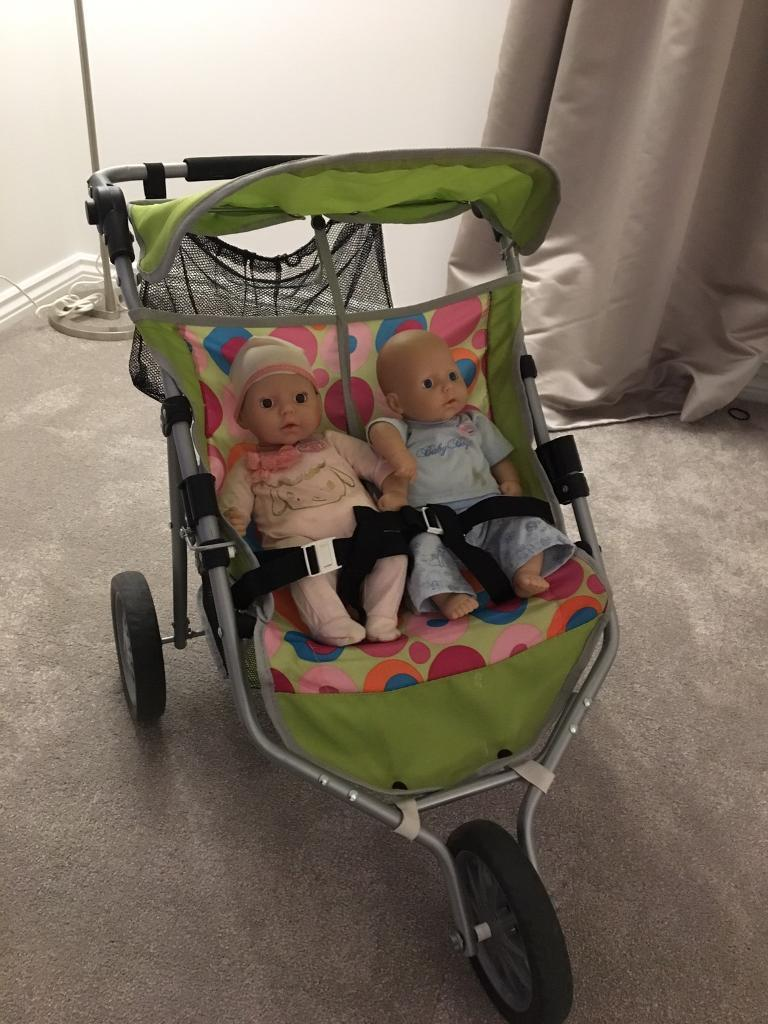 Dolls and double buggy