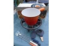 LE CREUSET 6471 ORANGE Meat Fondue Set Cast Iron Enamelware Pot Burner