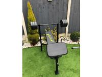 Weights bench and 30kg weights