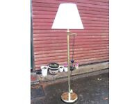 mid-century, retro brass standard lamp floor standing lamp adjustable swing-arm with cream shade