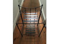 Antique folding metal stand, bedside table, printer stand, occasional table