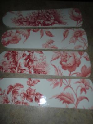 Cherry Designer Ceiling Fan (CUSTOM DESIGNED RED ON WHITE ORIENTAL TOILE CEILING FAN with SINGLE)