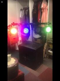 Music system and lights comes with two stands amplifier