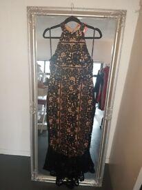 Black full length fishtail dress