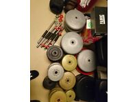 York std folding bench ,std vinyl weight plates 200kg plus and bars