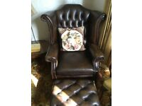 Chesterfield Queen Anne style high back wing chair and stool