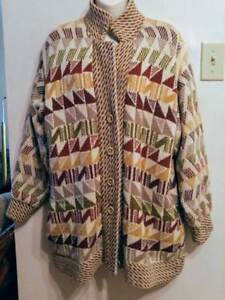 Oakville OUTDOOR SWEATER 100% WOOL Womens CARDIGAN Large 12 14 16 Spring Hand-Knit in England Vintage Retro