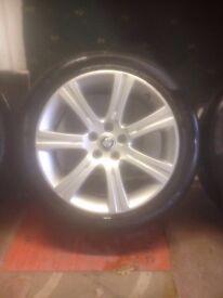 Four original Jaguar XF alloy wheels with tyres