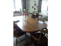 SOLID WOODEN TABLE ( EXTENDABLE) WITH 6 CHAIRS