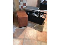 Denon surround speakers, subwoofer, MP3 player