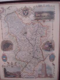FRAMED MAP OF OLD DERBYSHIRE