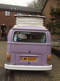 VW TYPE 2 BAY CAMPERVAN -Unique & beautiful purple 1976 model with 6 months MOT