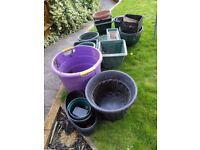Garden plant pots, various plus 3 pond baskets