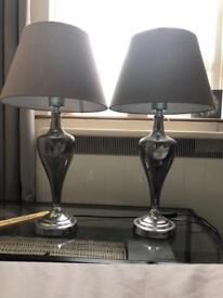 Two Grey Frosted Glass Lamps