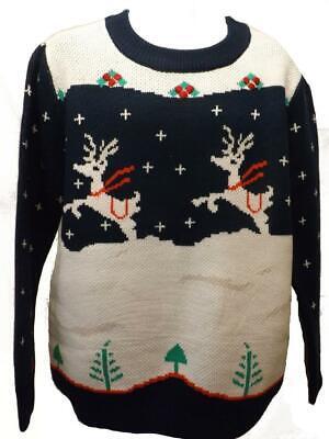 Weihnachten Erwachsene Sweatshirt (Neu Erwachsene Herren Größe M Medium Blau/Weiß Rentier Weihnachten Ugly Pullover)