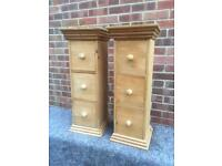 2 solid chunky pine bedside tables. Lamp stands. Storage units. N