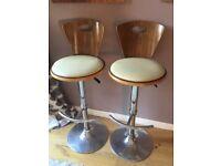 Pair of cream and walnut bar stools