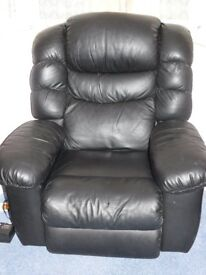 Lazy Boy black leather recliner with built in heat/massage and fridge