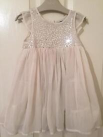 Party girls sequin dress ivory 12-18 month