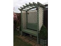 Garden seat bench arch Arbour furniture cream green shabby chic