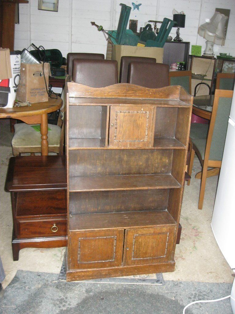 Vintage Ornate Small Narrow Oak Bookcase Shelving Display Cabinet Viewing Delivery Available In Camelford Cornwall Gumtree