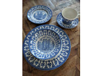 Broadhurst Ironstone Vintage Blue & White China - 1977 Queen's Silver Jubilee, Collection only. £20!