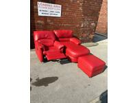 Red chaise sofa with electric recliner armchair and footstool