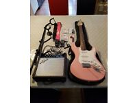 Complete Electric Guitar Starter Package (Pink)