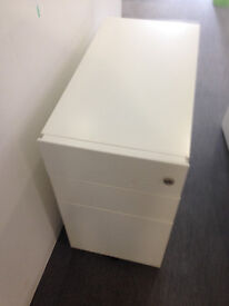 office white metal pedestal filing cabinet on wheel with key