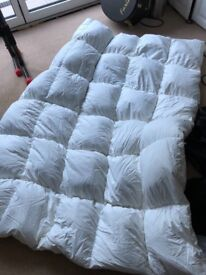 King size duck feather and down mattress topper, as new
