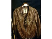 Goodsouls brown leather jacket in size large