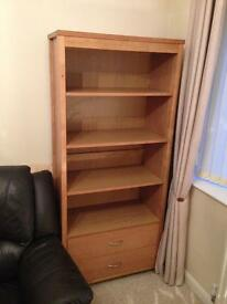 Wooden bookcase with two drawers