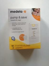 Pack of 50 Medela Pump & Save Breastmilk Storage Bags with 2 easy connect pump adapters