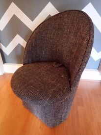 Small Brown Fabric Armchair with Storage