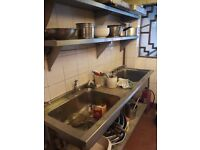 Cafe restaurant kitchen equipment Stainless steel Sinks Fridges scales pots pans fryers tables