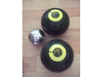 Bowls, jack and bag,Henselite bowls