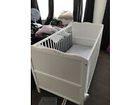 Cot with mattress - white