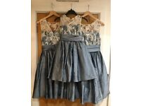 Bridesmaids dresses x 3 slate blue silk & lace