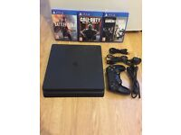 Sony Playstation 4 (PS4) Slim 500GB with 1 pad and 3 games